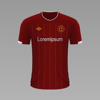Realistyczna koszulka piłkarska liverpool, szablon jersey na strój piłkarski.