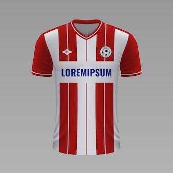 Realistyczna koszulka piłkarska red star2020, szablon jersey na strój piłkarski