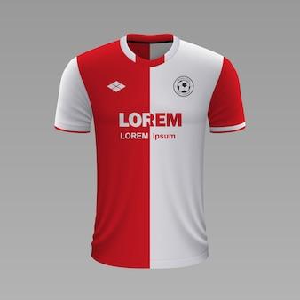 Realistyczna koszulka piłkarska slavia, szablon jersey na strój piłkarski