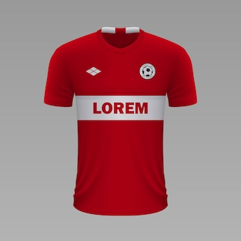 Realistyczna koszulka piłkarska spartak, szablon jersey na strój piłkarski