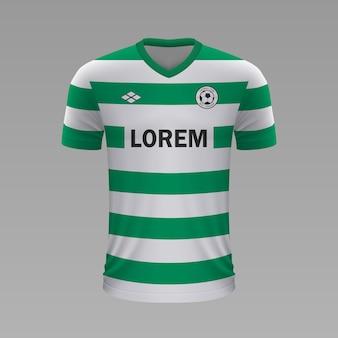 Realistyczna koszulka piłkarska sporting lizbona, szablon jersey na strój piłkarski