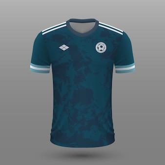 Realistyczna koszulka piłkarska, szablon koszulki argentyńskiej na strój piłkarski.