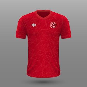 Realistyczna koszulka piłkarska, szablon koszulki kanadyjskiej na strój piłkarski.