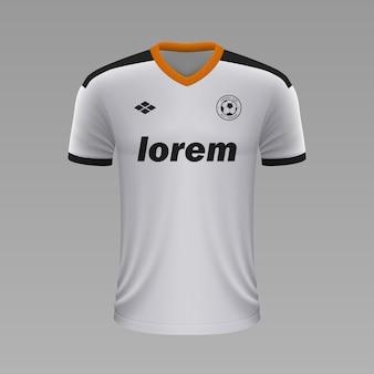 Realistyczna koszulka piłkarska valencia, szablon jersey na strój piłkarski.