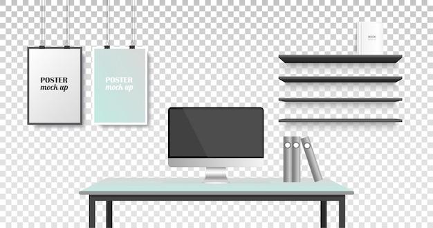 Realistyczna kreatywna przestrzeń biurowa. obszar roboczy i rama na ścianie.