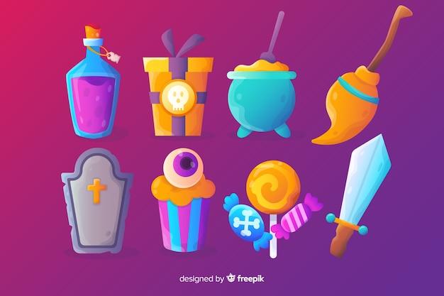 Realistyczna kreskówka halloween kolekcja cukierków