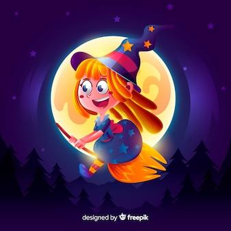 Realistyczna kreskówka wiedźma haloween
