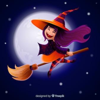 Realistyczna kreskówka wiedźmy halloween