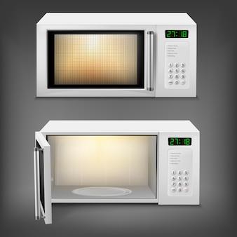 Realistyczna kuchenka mikrofalowa z lekkim wnętrzem, z otwartymi i zamkniętymi drzwiami