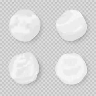 Realistyczna kula śniegu. zestaw ikon śnieżki na białym tle. koło śniegu
