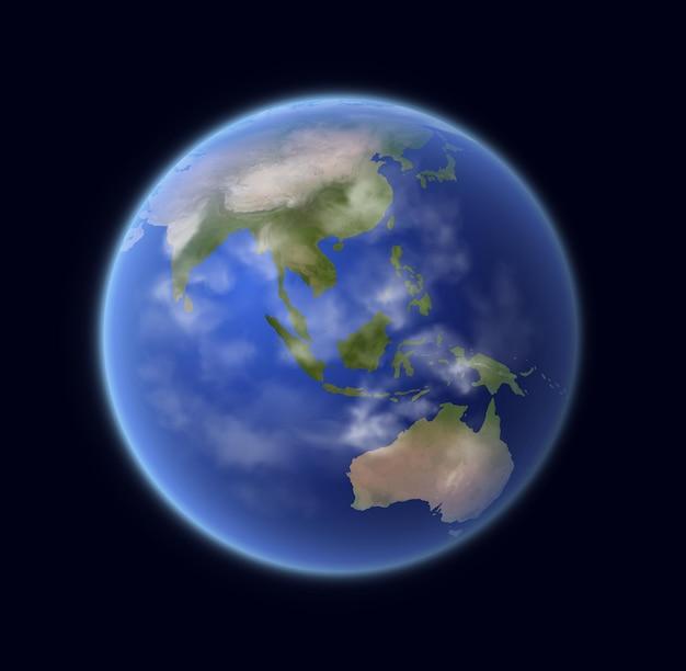 Realistyczna kula ziemska, planeta 3d układu słonecznego z krajobrazem kontynentów, błękitną powierzchnią oceanu i chmurami. obiekt astronomiczny w kosmosie, kula ziemi renderowanie na białym tle na czarnym tle