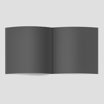 Realistyczna kwadratowa makieta otwartej czarnej książki