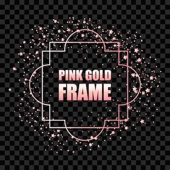 Realistyczna kwadratowa ramka w kolorze różowego złota