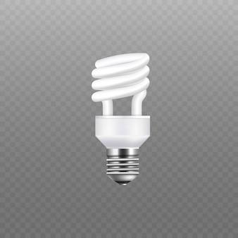 Realistyczna lampa energooszczędna i biała żarówka. elektryczność i pojedyncza spiralna lampa i żarówka na przezroczystym tle ,.