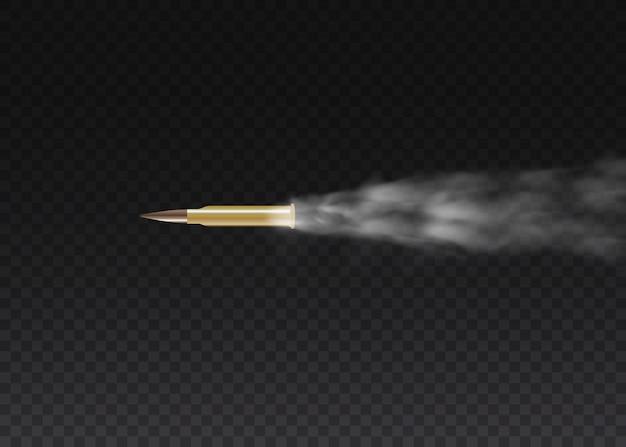 Realistyczna latająca kula w ruchu. ślady dymu na przezroczystym tle. szlaki strzelania z pistoletu. strzały, pocisk w ruchu, wojskowe smugi dymu.