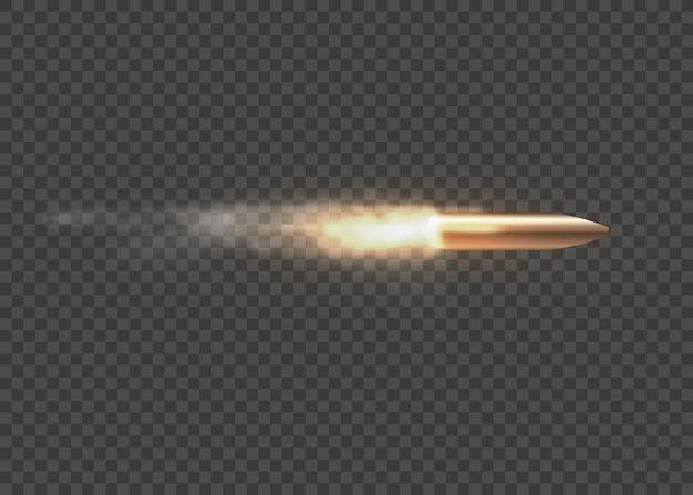 Realistyczna latająca kula w ruchu. strzały, pocisk w ruchu, wojskowe smugi dymu. ślady dymu na przezroczystym tle. szlaki strzelania z pistoletu. ilustracja,.