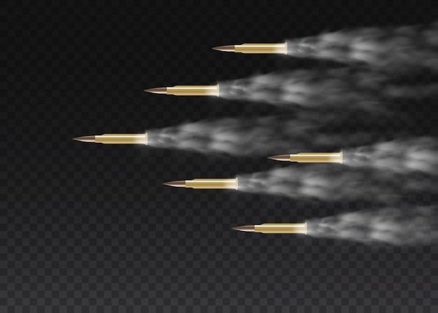 Realistyczna latająca kula w ruchu. strzały, pocisk w ruchu, wojskowe smugi dymu. ślady dymu na przezroczystym tle. szlaki z pistoletu.
