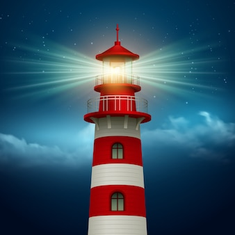 Realistyczna latarnia morska na tle nocnego nieba.