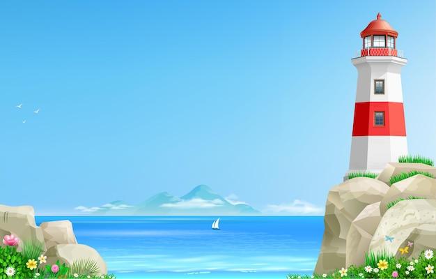 Realistyczna latarnia morska na zielonym wzgórzu nad morzem