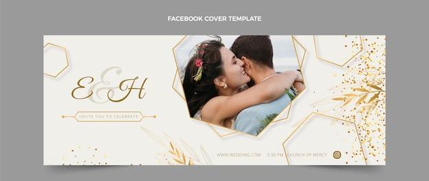 Realistyczna, luksusowa okładka ślubna na facebooku