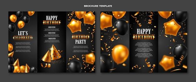 Realistyczna luksusowa złota broszura urodzinowa