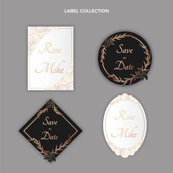 Realistyczna luksusowa złota etykieta ślubna