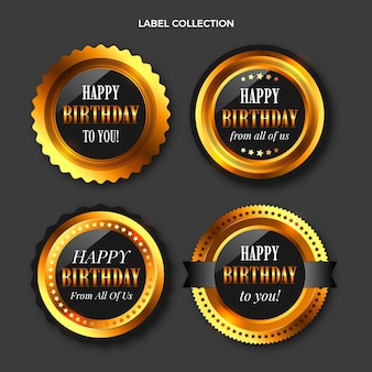 Realistyczna luksusowa złota etykieta urodzinowa i odznaki