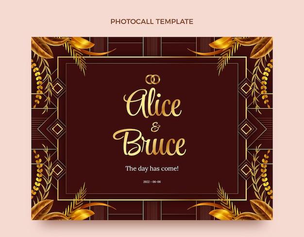Realistyczna, luksusowa, złota fotokompozycja ślubna