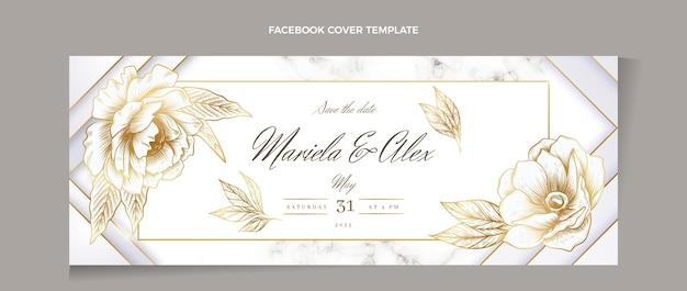 Realistyczna, luksusowa, złota okładka weselna na facebooku