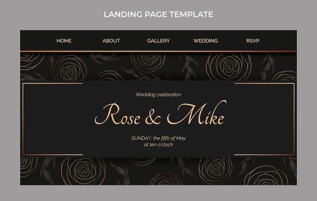 Realistyczna luksusowa złota strona docelowa ślubu