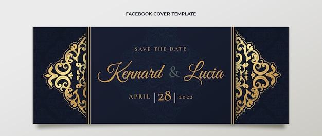 Realistyczna, luksusowa, złota weselna okładka na facebooku