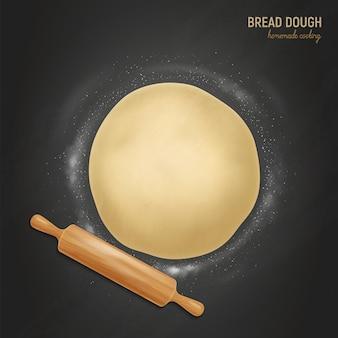 Realistyczna mąka do ciasta chlebowego z tekstem i kompozycją spłaszczonej mąki do ciasta i wałkiem