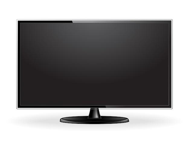Realistyczna makieta ekranu telewizora na białym tle