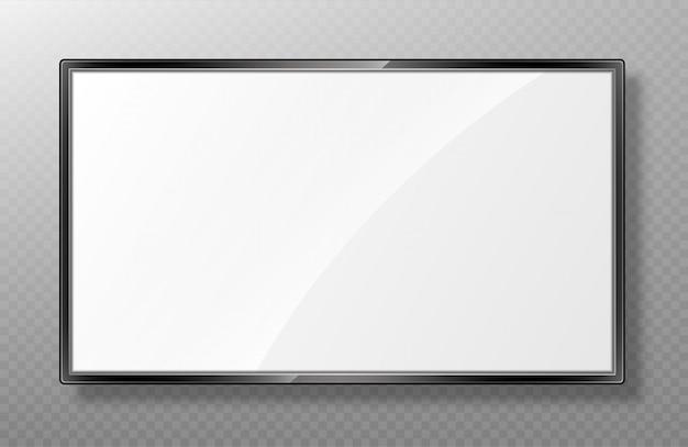 Realistyczna makieta ekranu telewizora. nowoczesny panel lcd na przezroczystym tle