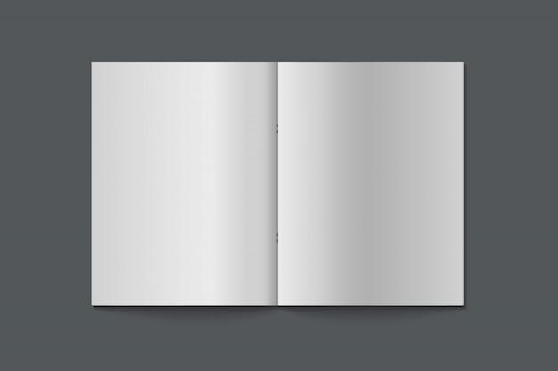 Realistyczna makieta książki. pusty otwarty magazyn, książka, notatnik, broszura, broszura. makieta na białym tle. projekt szablonu ilustracja.