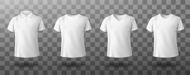 Realistyczna makieta męskiej białej koszulki polo