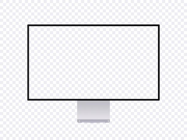 Realistyczna makieta monitora, nowoczesny cienki ekran komputera z pustym miejscem.