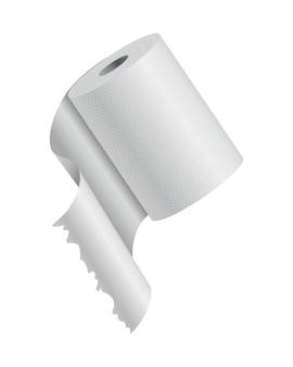 Realistyczna makieta papieru toaletowego lub ręcznika kuchennego. pusty biały obiekt. taśma toaletowa do kuchni.
