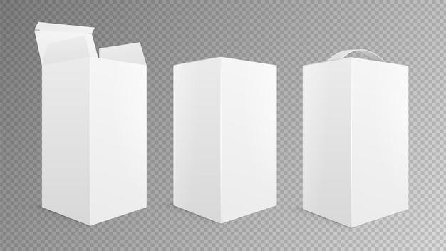 Realistyczna makieta pudełkowa. otwórz zamknięte opakowanie, wyjmij opakowanie z uchwytem. ilustracja wektorowa na białym tle biały pusty karton 3d pudełka. pusty pusty realistyczny, papier pakowy, opakowanie produktu