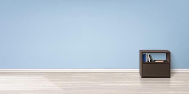 Realistyczna makieta pustego pokoju z płaską niebieską ścianą, drewnianą podłogą, brązowy stojak z książkami
