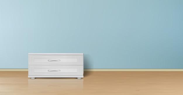 Realistyczna makieta pustego pokoju z płaską niebieską ścianą, drewnianą podłogą i stojakiem z szufladami.
