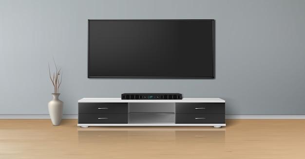 Realistyczna makieta pustego pokoju z telewizorem plazmowym na płaskiej szarej ścianie, system kina domowego