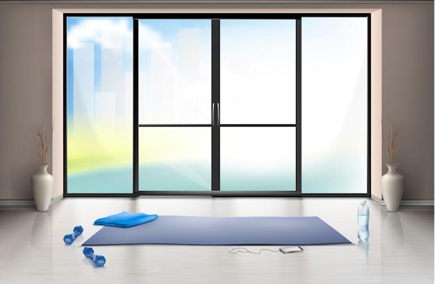 Realistyczna makieta pustej sali gimnastycznej na treningi fitness z niebieską matą do jogi i hantelkami