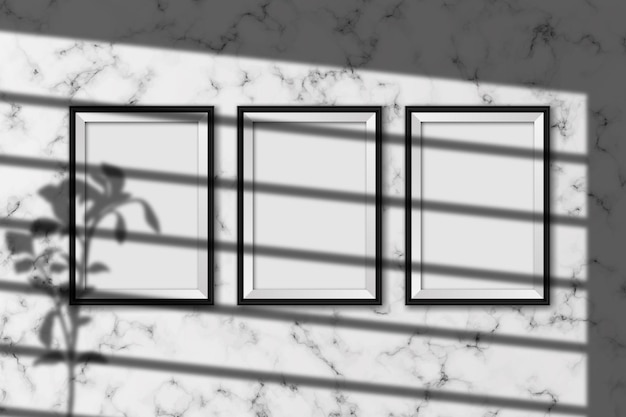Realistyczna makieta ramek do zdjęć z efektem nakładki cienia