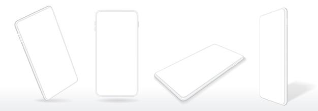 Realistyczna Makieta Smartfona 3d Telefon Komórkowy Z Zestawem Wektorów Pustego Ekranu Urządzenia Premium Wektorów