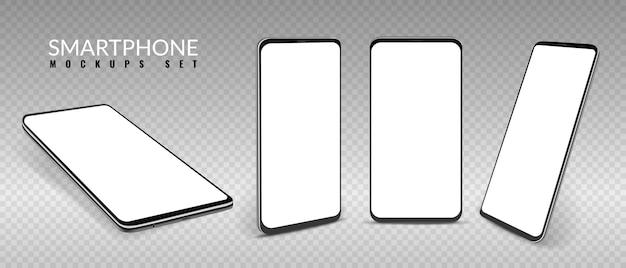 Realistyczna makieta smartfona smartfony w innym widoku