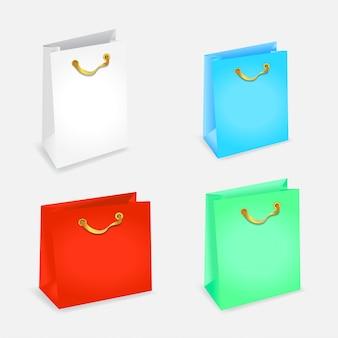 Realistyczna makieta torebka na prezenty dla brandingu reklamowego.