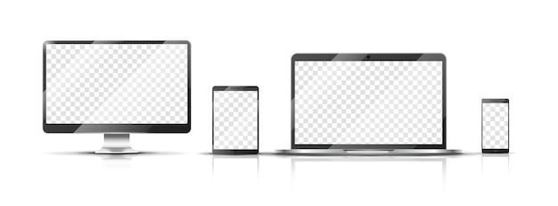Realistyczna makieta urządzeń. smartfon, monitor laptopa i tablet z przezroczystym ekranem. ilustracja na białym tle mobilnych wektor. ekran dotykowy smartfona i laptopa, tabletu i telefonu