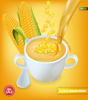 Realistyczna makieta zupy kukurydzianej