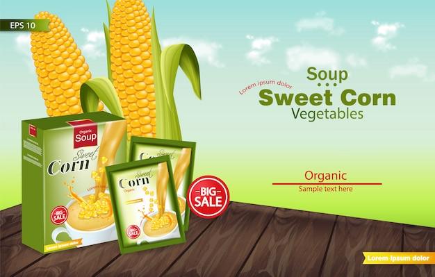 Realistyczna makieta zupy ze słodkiej kukurydzy